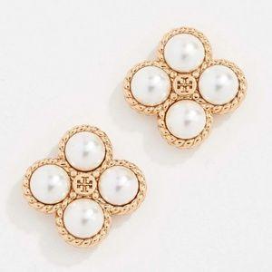 Tory Burch earrings logo gold pearl earrings